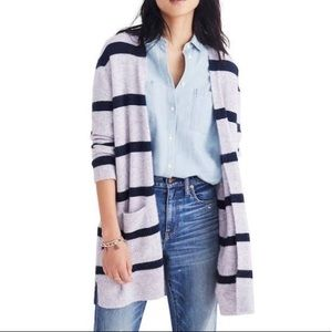 Madewell Kent open cardigan striped navy grey